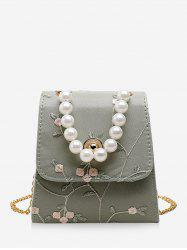 Faux Pearl Embroidery Flower Crossbody Bag -