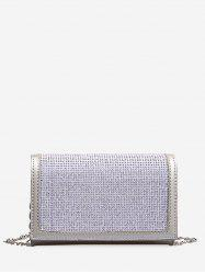 Chain Rhinestone Rectangle Crossbody Bag -