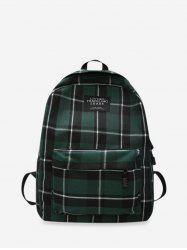 Grid Pocket Design Casual Student Chic Backpack -