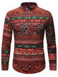 Ethnic Geometric Pattern Stand Collar Henley Shirt -