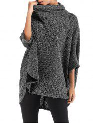 Roll Neck Heathered High Low Poncho Sweater -