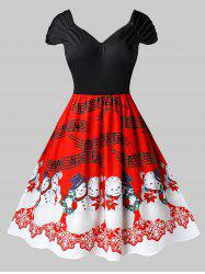 Plus Size Vintage Snowman Musical Notes Christmas Dress -