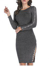 Ribbed Buttons Metallic Thread Bodycon Jumper Dress -