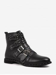 Buckle Rivet Studded Motorcycle Ankle Boots -