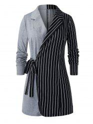 Plus Size Pinstriped Two Tone Lapel Knotted Tunic Blazer -