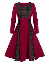 Button Checked Panel Fit And Flare Lace Up Dress -