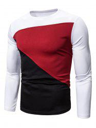 Color-blocking Long Sleeves Casual T-shirt -