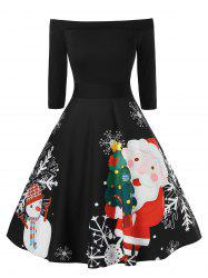 Plus Size Fit And Flare High Waist Christmas Printed Dress -
