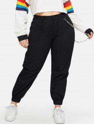 High Waisted Pockets Chain Plus Size Jogger Pants -