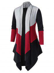 Plus Size Color-blocking Open Asymmetric Tunic Knit Cardigan -