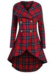 Plus Size High Low Double Breasted Plaid Coat -