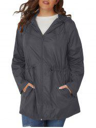 Plus Size Hooded Toggle coupe-vent Manteau Drawstring -