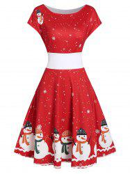 Vintage Snowman Snowflake Print Christmas Swing Dress -