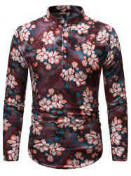 Vintage Floral Print Stand Collar Henley Shirt -