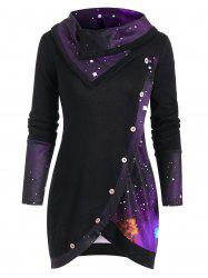 Galaxy Print Panel Mock Button Cowl Neck Sweater -