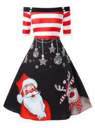 Plus Size Fit And Flare Off The Shoulder High Waist Christmas Dress -