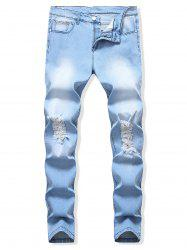 Destroyed Design Light Wash Casual Jeans -