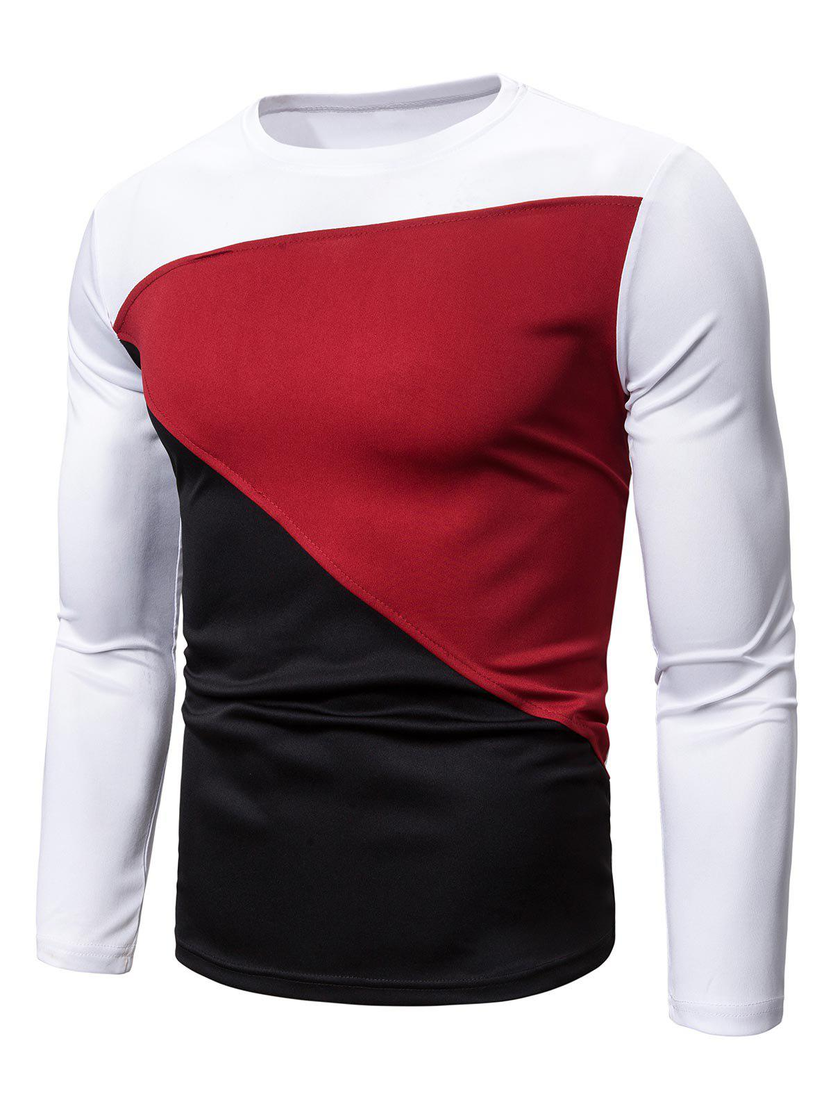 Latest Color-blocking Long Sleeves Casual T-shirt