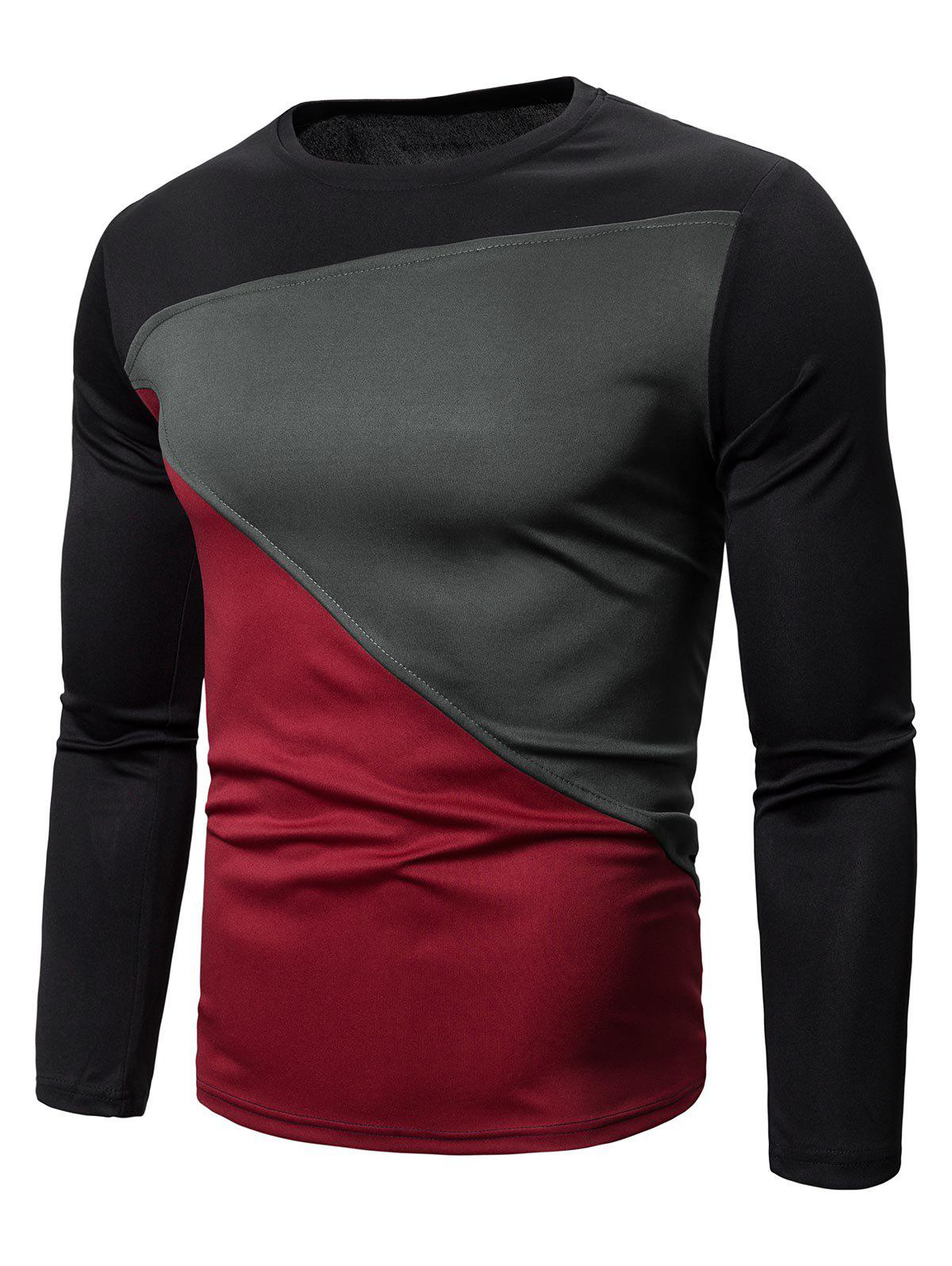 Fancy Color-blocking Long Sleeves Casual T-shirt