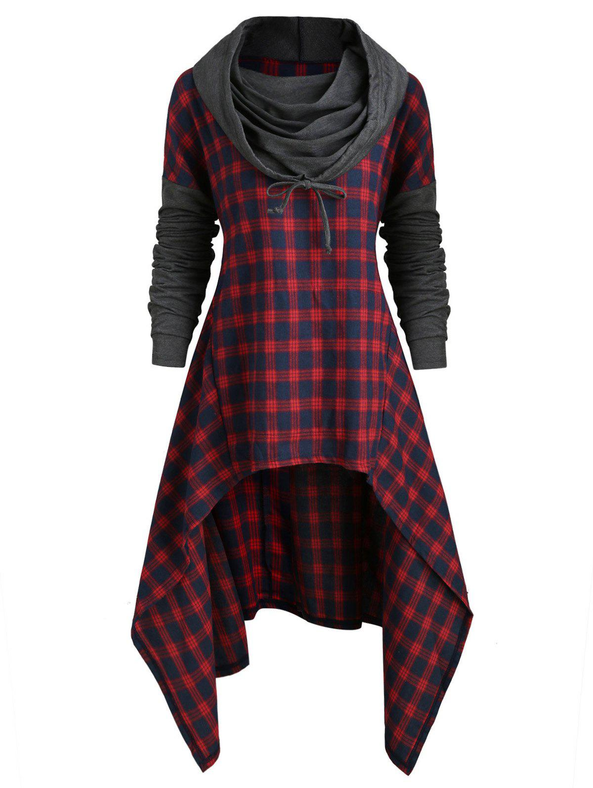 Fashion Plus Size Plaid High Low Front Pocket Hoodie
