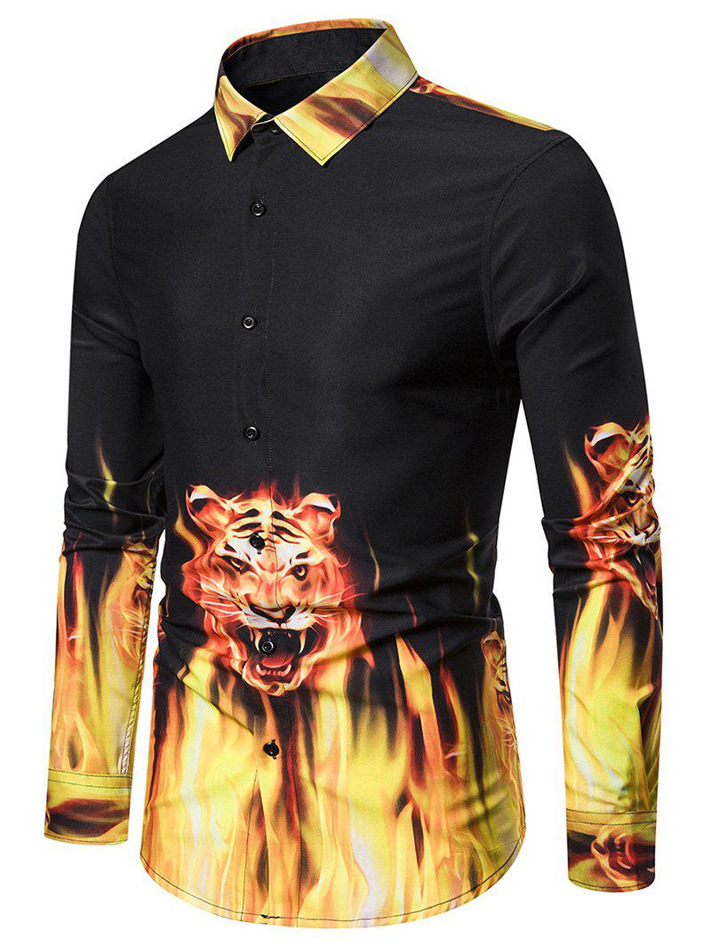 Store Tiger Flame Pattern Long-sleeved Shirt