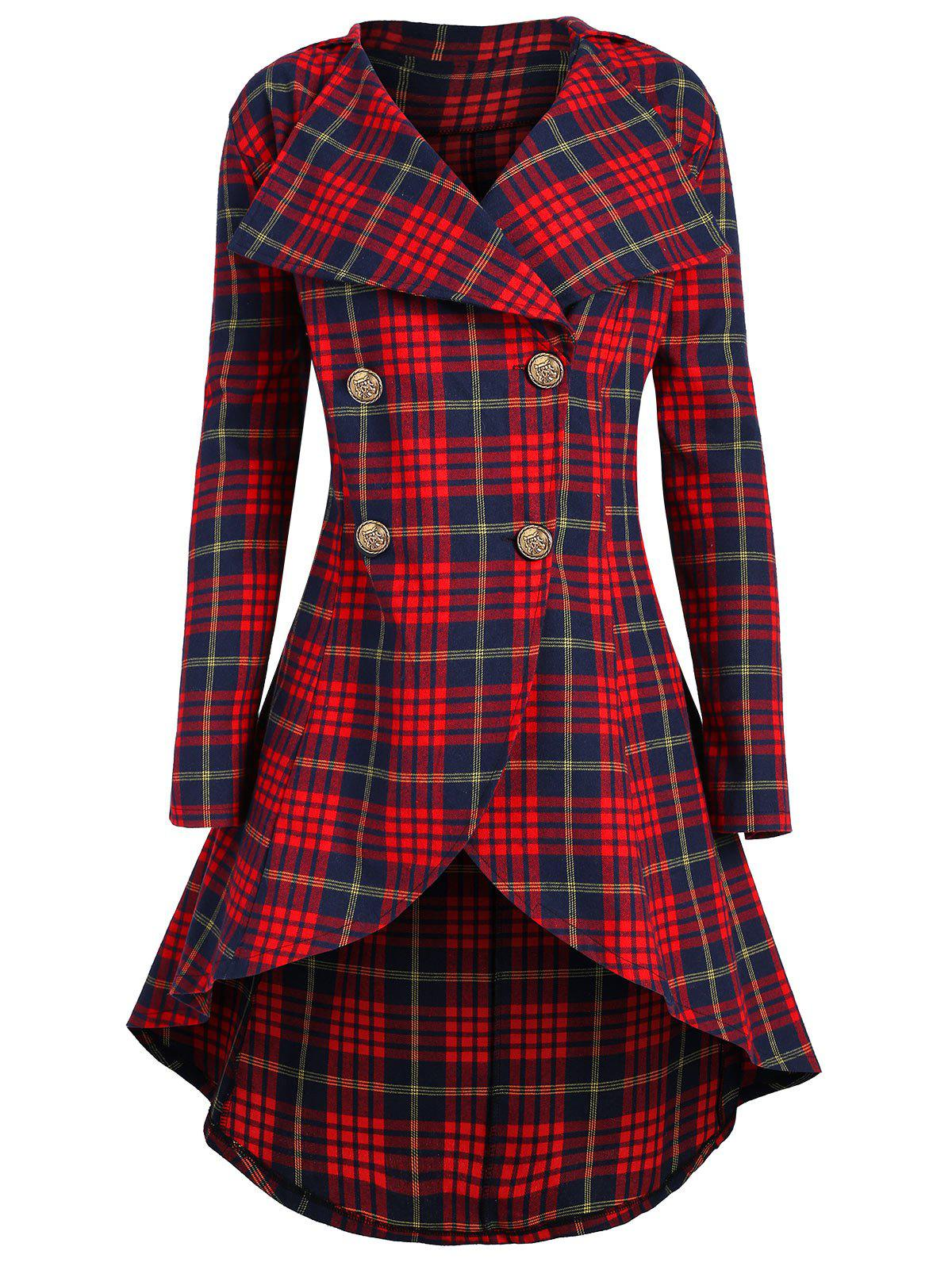 Fancy Plus Size High Low Double Breasted Plaid Coat