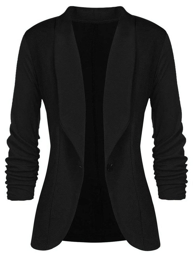 Plus Size Bouton simple Blazer à col châle