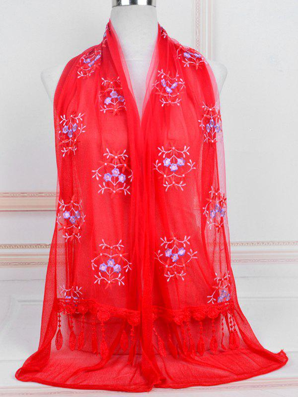 Outfits Flower Pattern Lace Tassel Long Scarf