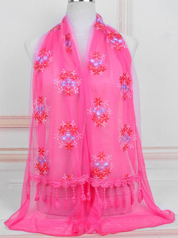 Shop Flower Pattern Lace Tassel Long Scarf