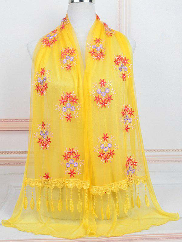 Affordable Flower Pattern Lace Tassel Long Scarf