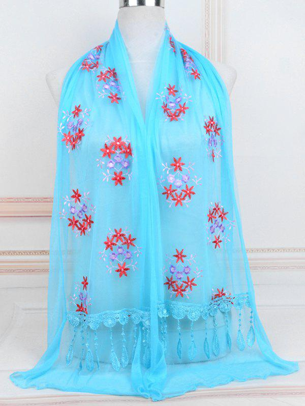Latest Flower Pattern Lace Tassel Long Scarf