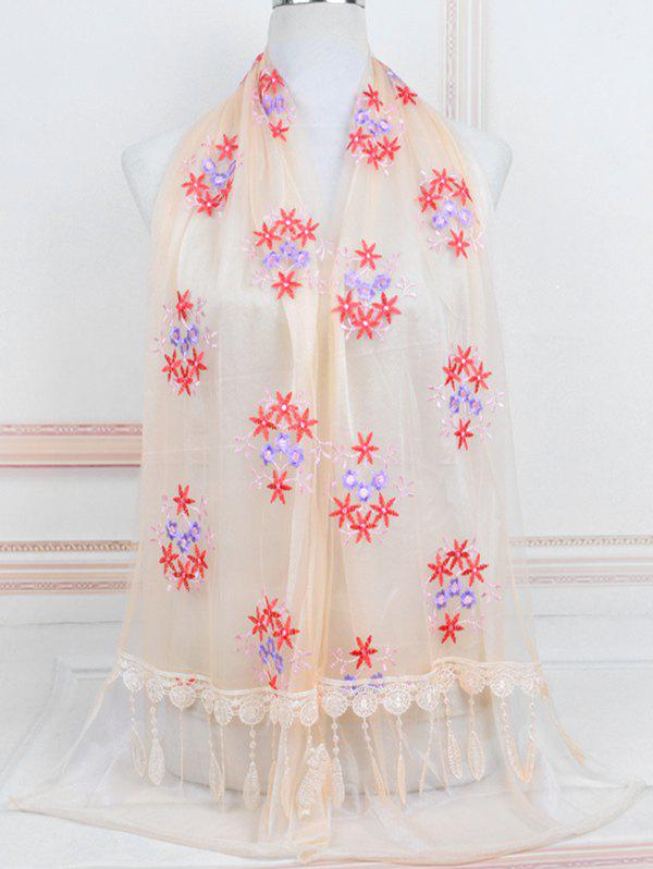 Online Flower Pattern Lace Tassel Long Scarf