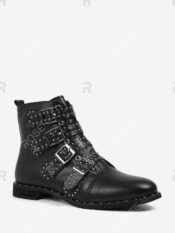 Outfits Buckle Rivet Studded Motorcycle Ankle Boots