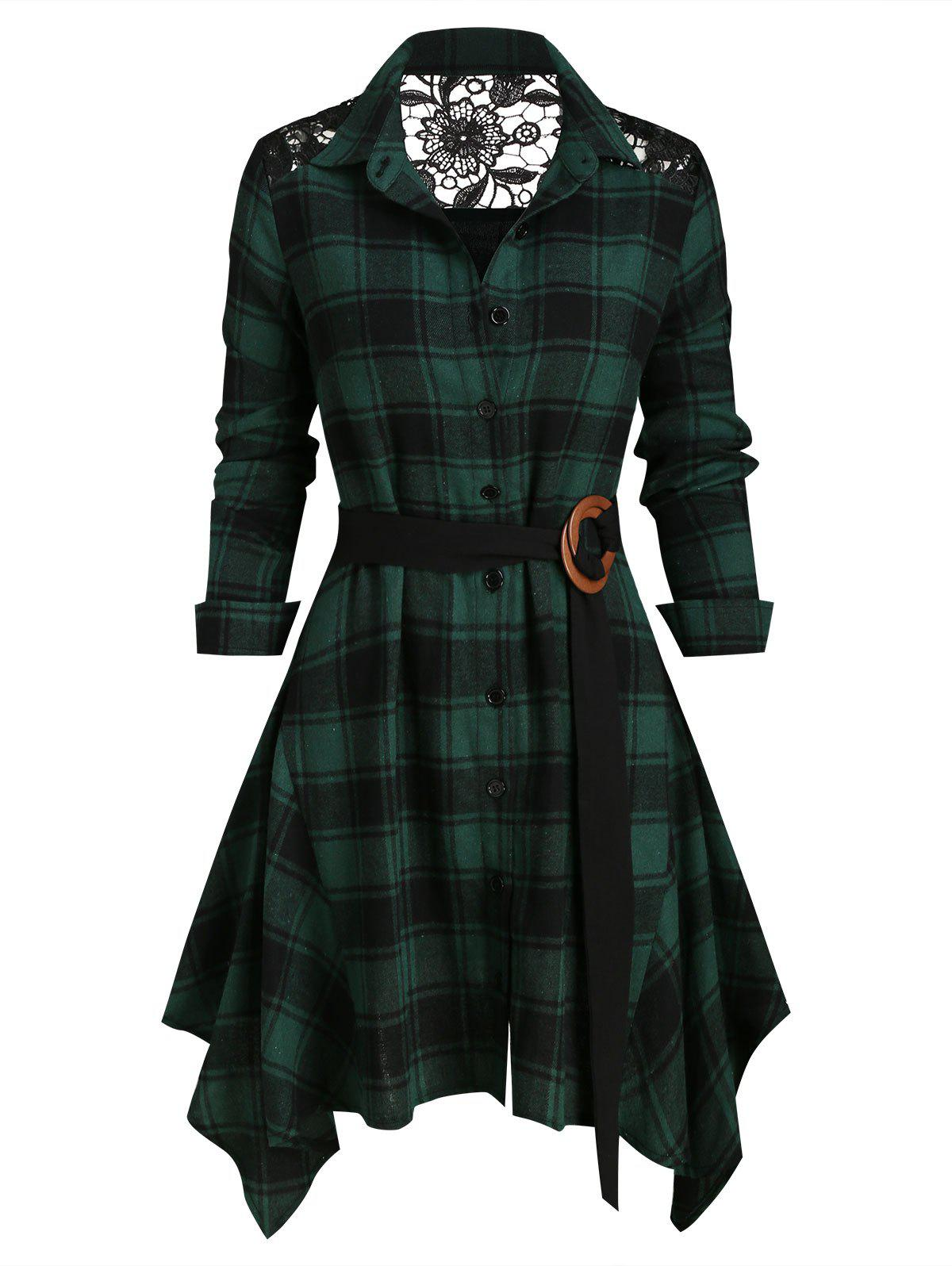 Best Lace Panel Plaid Belted Asymmetric Shirt