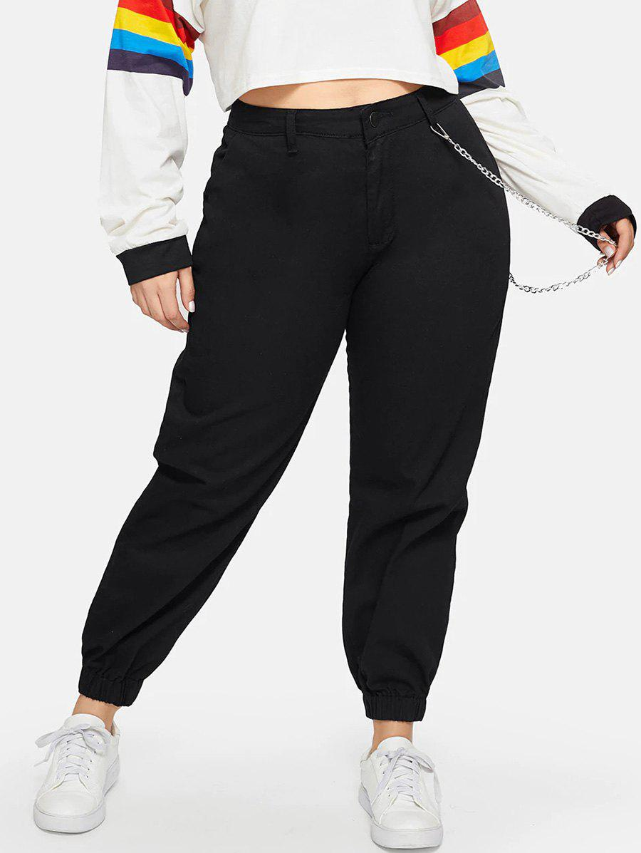 Affordable High Waisted Pockets Chain Plus Size Jogger Pants