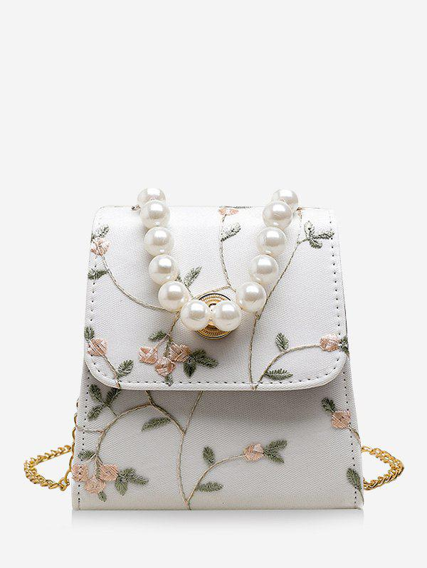 Fancy Faux Pearl Embroidery Flower Crossbody Bag