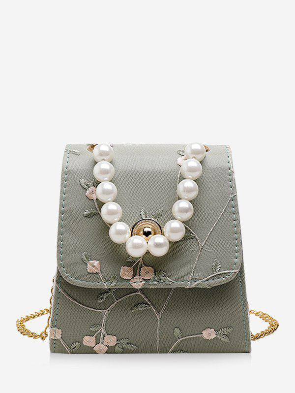 Trendy Faux Pearl Embroidery Flower Crossbody Bag