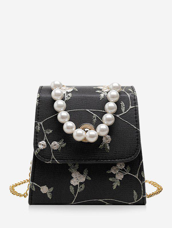 Shop Faux Pearl Embroidery Flower Crossbody Bag