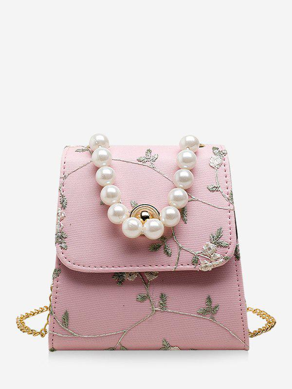 Outfit Faux Pearl Embroidery Flower Crossbody Bag