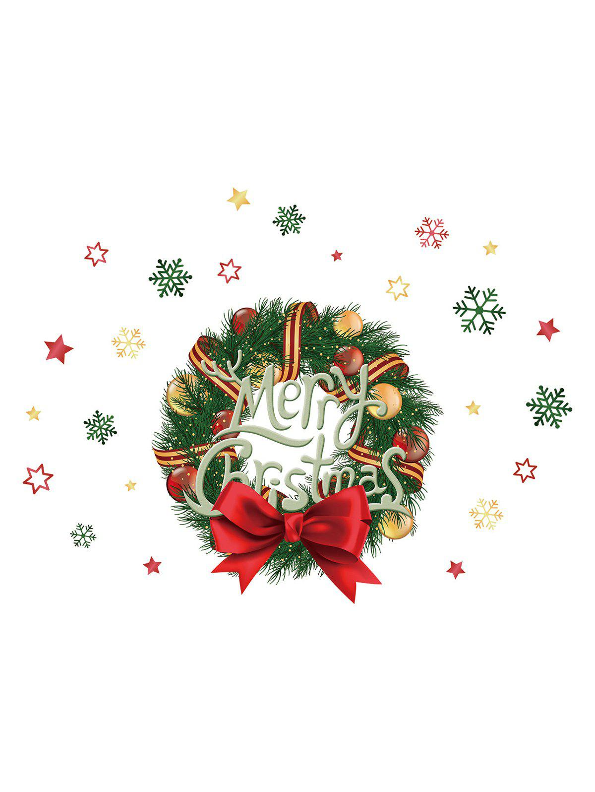 Fancy Christmas Ball Wreath Print Decorative Wall Art Stickers