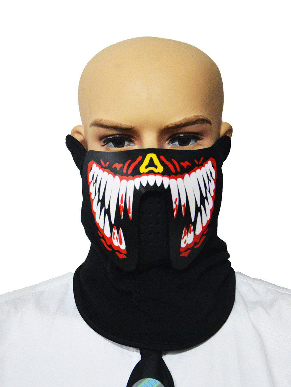 Unique Halloween Cosplay Patterned Sound Control LED Glowing Dreathing Mask