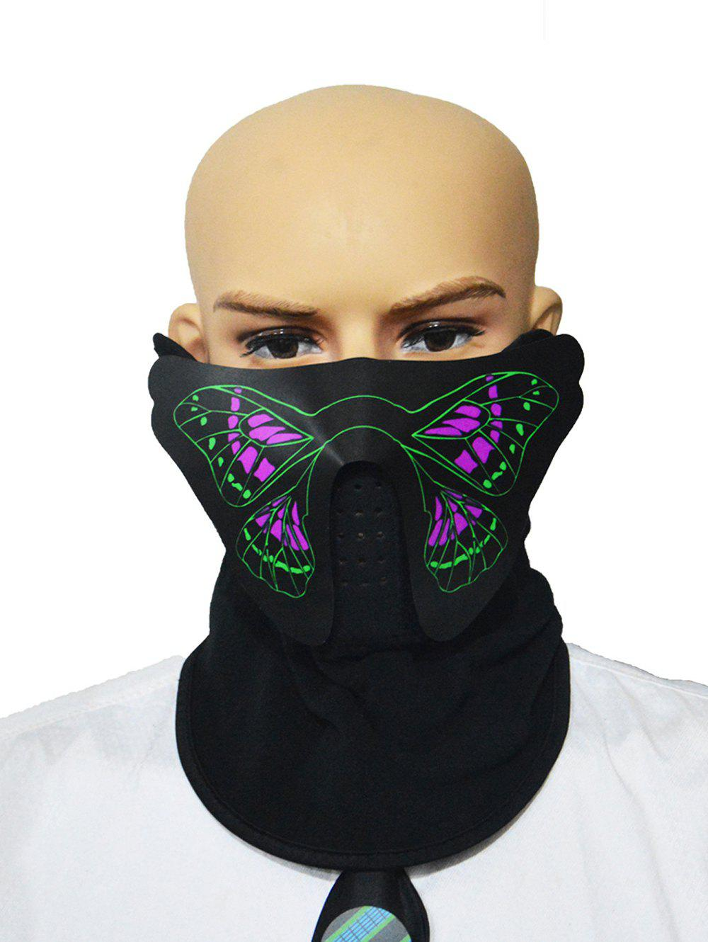 Discount Halloween Cosplay Patterned Sound Control LED Glowing Dreathing Mask