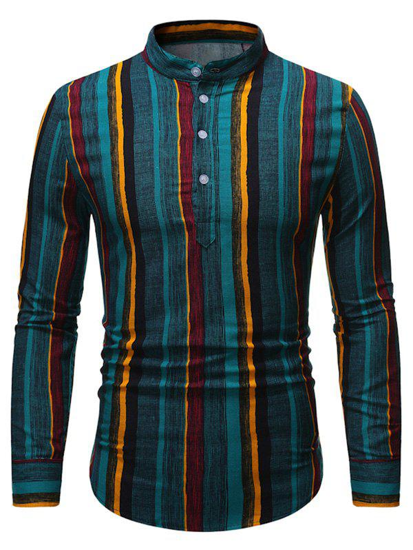 Shops Retro Vertical Striped Stand Collar Henley Shirt