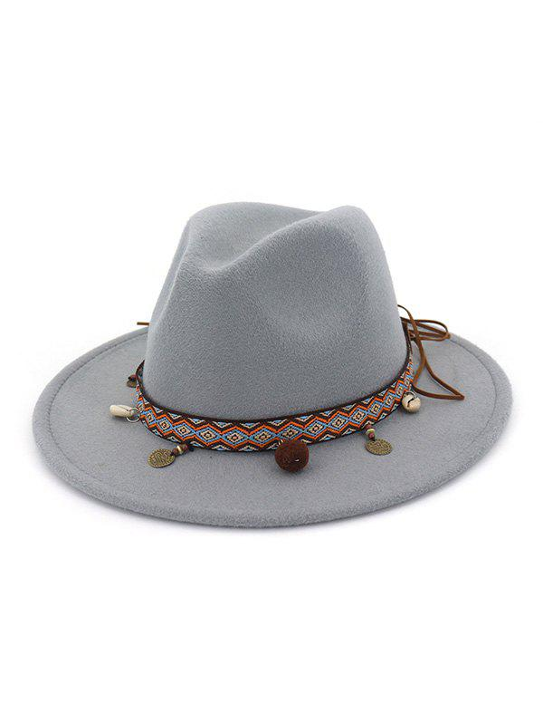 Outfit Ethnic Shell Tassel Embellished Jazz Hat