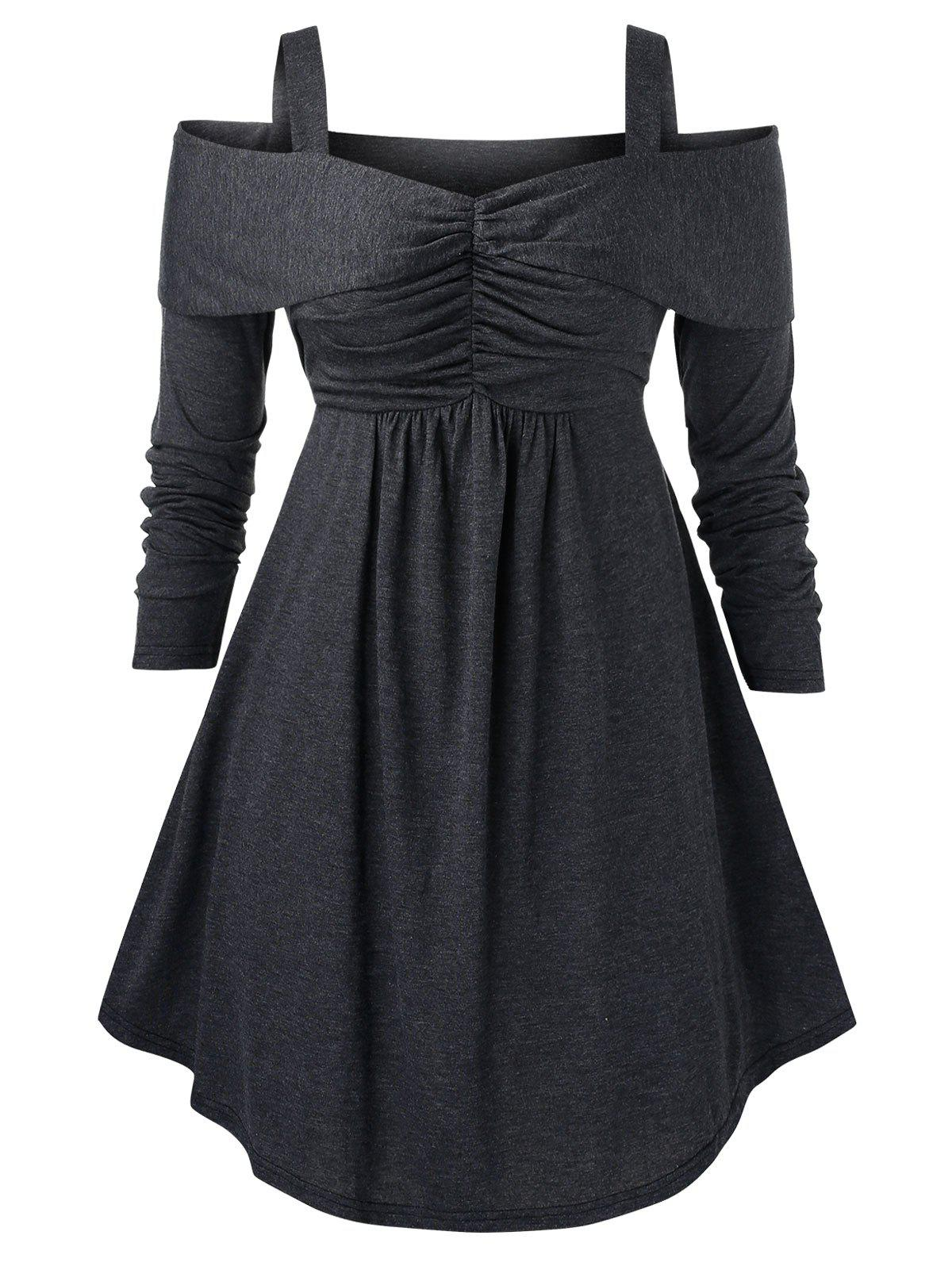 Plus Size Cold Shoulder Sweetheart Collar Solid Sweater фото