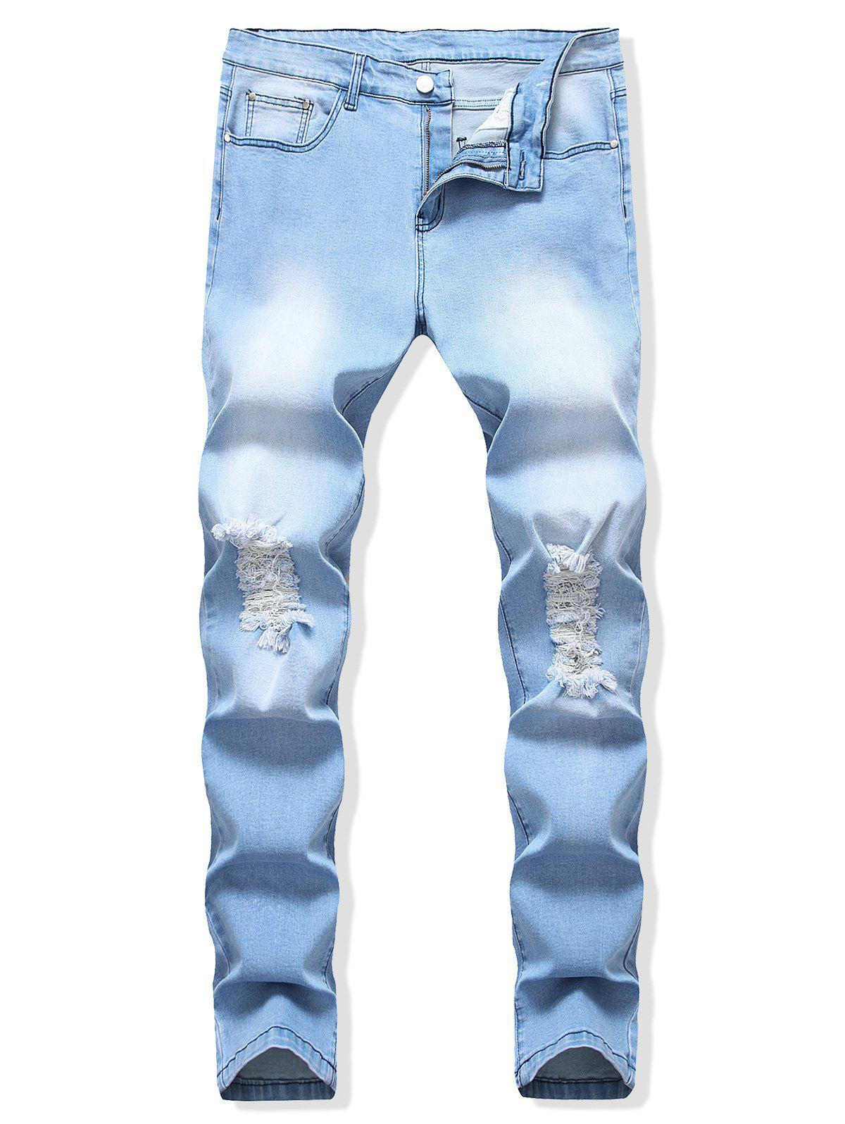 Chic Destroyed Design Light Wash Casual Jeans