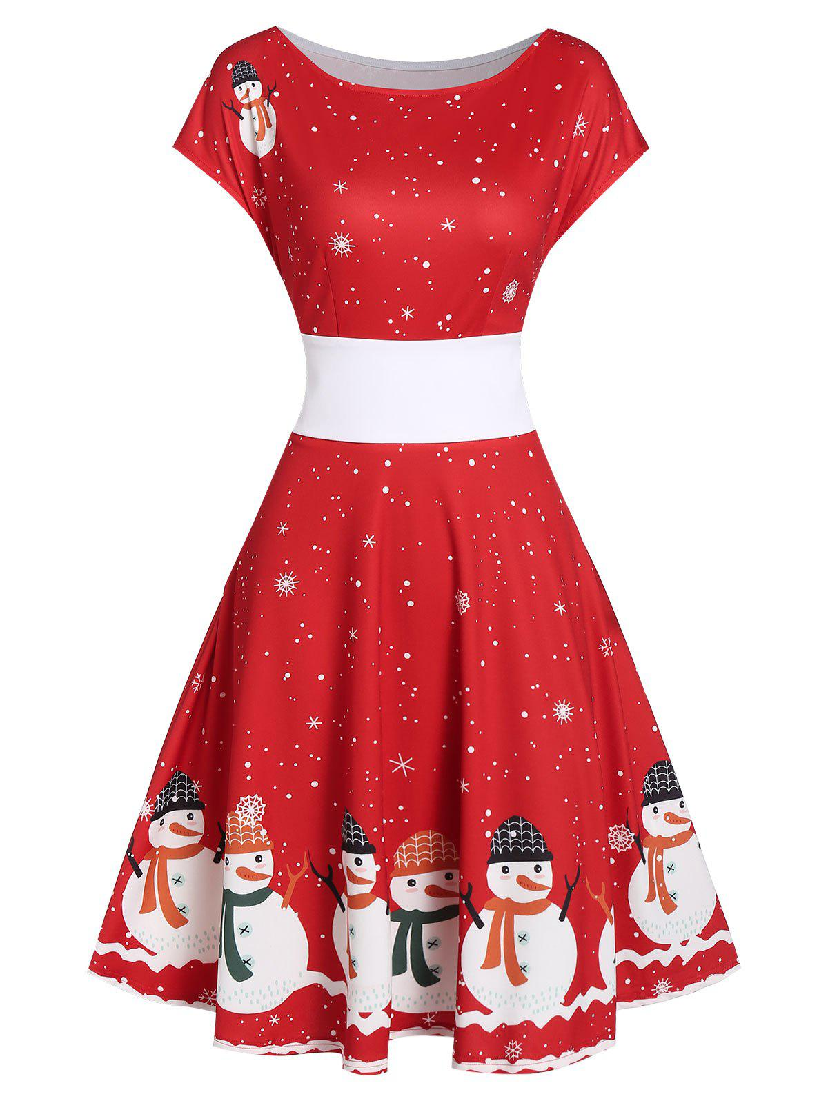 Fashion Vintage Snowman Snowflake Print Christmas Swing Dress