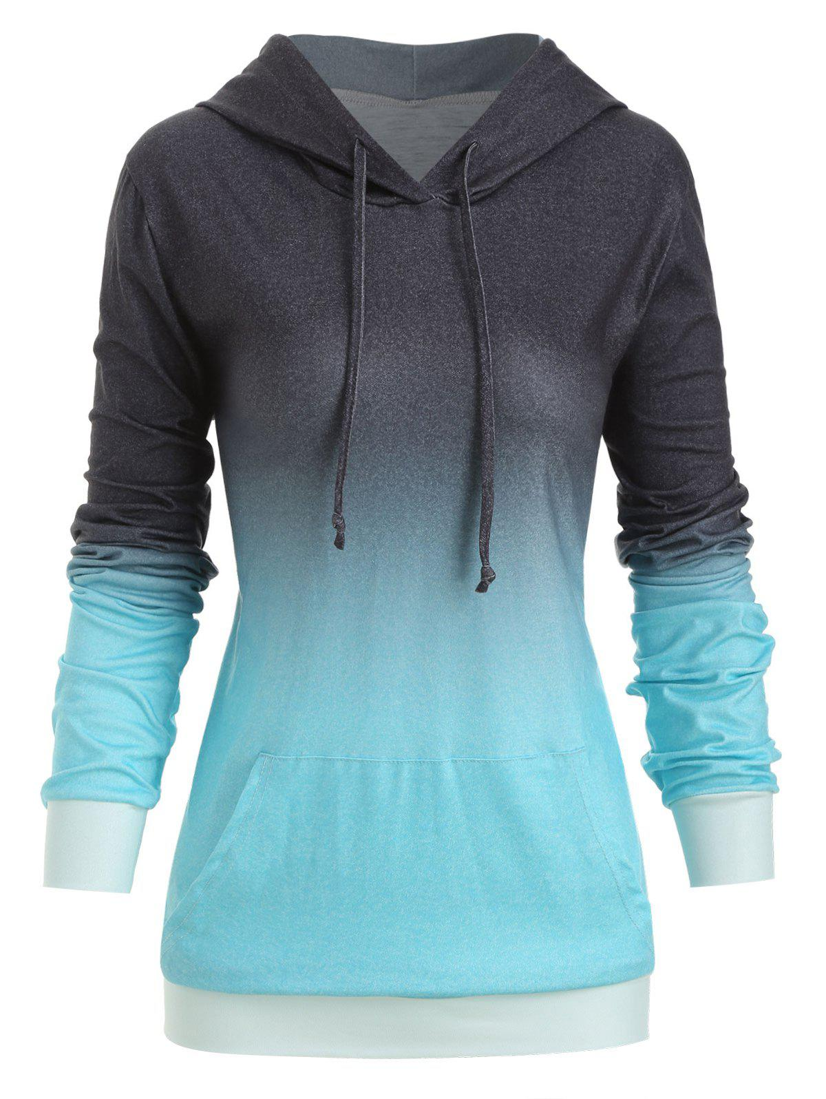 Best Plus Size Kangaroo Pocket Ombre Drawstring Hoodie