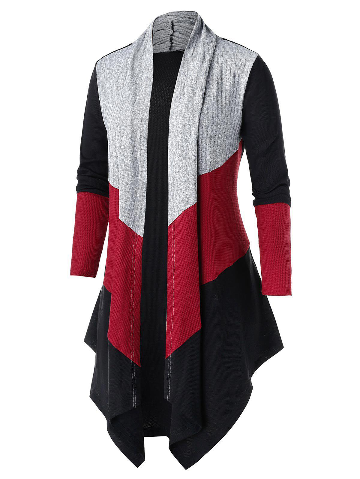 Store Plus Size Color-blocking Open Asymmetric Tunic Knit Cardigan
