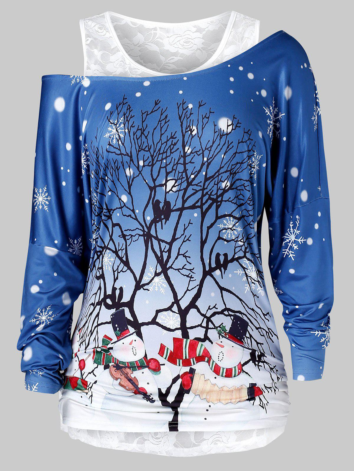 Cheap Plus Size Christmas Printed Skew Neck T Shirt And Lace Top Set
